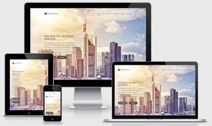 Webdesign auf Basis WordPress für bankfactory AG